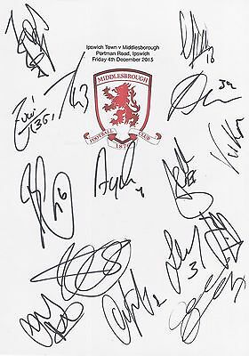 An A4 white card with the Middlesbrough Badge. Signed by 15 players on 04.12.15.