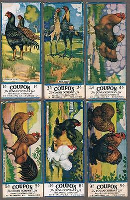1920's Cowan V12A Chicken Cards Normal With Coupon Trading Cards Lot of 14