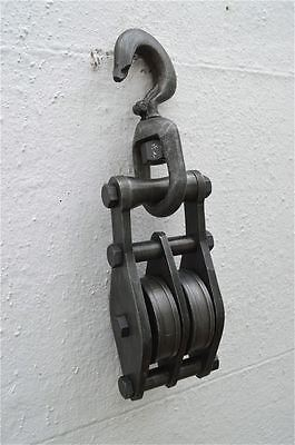 Industrial large pulley block and tackle hook light hanging hook aged steel