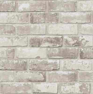Taupe Grey Shimmer Brick Pattern Realistic Faux Effect Mural Debona Wallpaper