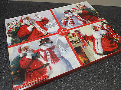 Christmas Santa Table Placemats Set Of 4 With Picture Box LP92645