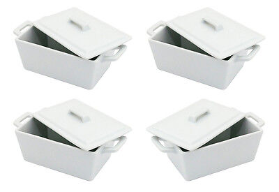 White Ceramic Rectangular Oven To Table Small Bowls Serving Side Dishes With Lid