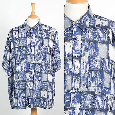 Vintage Mens Blue Crazy Pattern Oversize Shirt Short Sleeve Loose Fit 90's Xxl