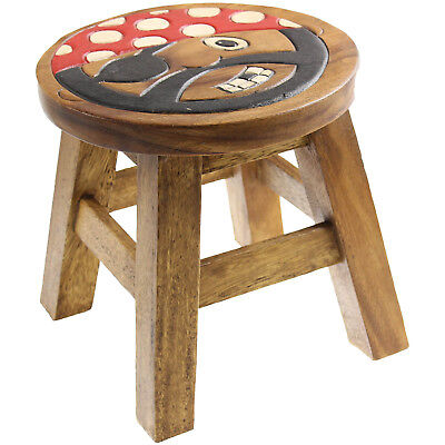 Solid Wood Wooden Round Pirates Design Kids Foot Stool Children Seat Furniture