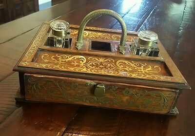 Regency 19th Century French Rosewood & Brass boulle Inlaid Inkwell Stand