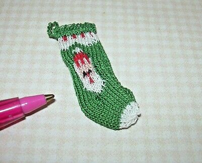 "Miniature Hand Knit Christmas Sock Stocking, ""SANTA #3"": DOLLHOUSE 1/12 Scale"