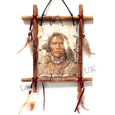 INDIAN CHIEF Wall Plaque, Dream catcher, Dreamcatcher in hand made wooden frame
