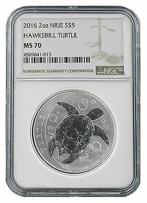 2016 Niue 2oz Silver Hawksbill Turtle NGC MS70 - Brown Label