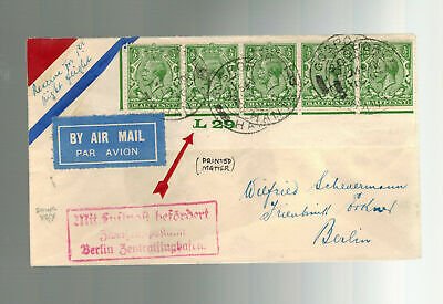 1930 England First Flight Cover to Berlin Germany FFC Imperial Airways Lufthansa
