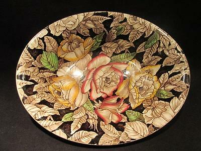 Myott Bermuda Vintage Oval Chintz Serving Bowl Black/Brown with Floral