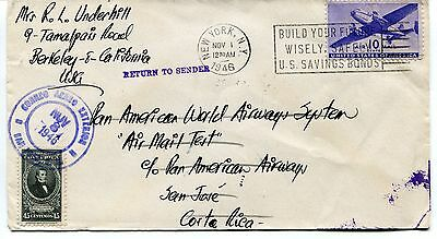 FFC 1946 Flight Cover Pan American World Airways System Air Mail Test Costa Rica