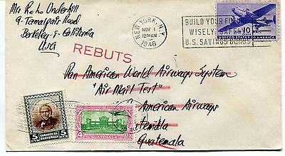 FFC 1946 Flight Cover Pan American World Airways System Air Mail Test Guatemala