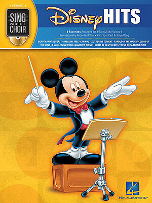 Disney Hits Sing with the Choir Vol 8 Vocal Sheet Music Kids Songs Book CD NEW
