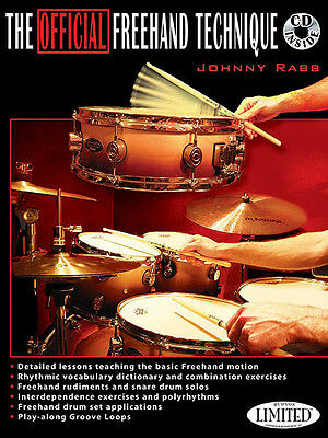 Official Freehand Technique Drum Set Snare Drums Lessons Johnny Rabb Book CD NEW