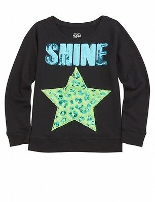 NWT Justice Girls Fuzzy Foil SHINE Sequin Star Sweatshirt Top UPick Size NEW