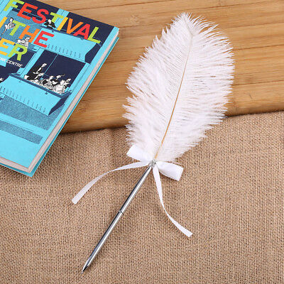 1pc Fashion Ostrich Quill Feather Wedding Guest Signing Pen Bowknot Diamante Pen