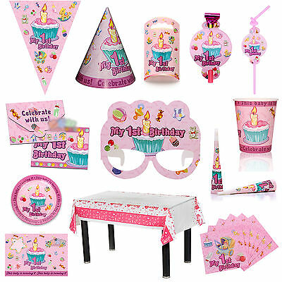 LOVELY PINK 1st Birthday Party TABLEWARE - Plates/Cups/Napkins/Tablecovers/Caps