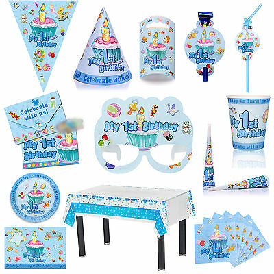 LOVELY Blue 1st Birthday Party TABLEWARE - Plates/Cups/Napkins/Tablecovers/Caps