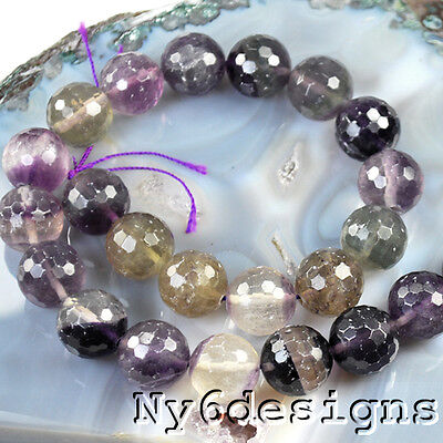 """15x15mm Natural Fluorite Faceted Round Beads 15""""(FL24)g"""