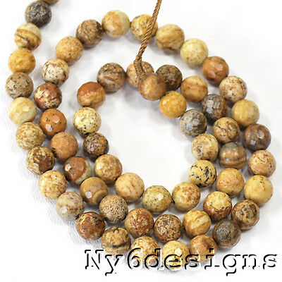 """12x12mm Natural Picture Jasper Round Spacer Loose Beads 15""""(JP203)c Free Ship"""