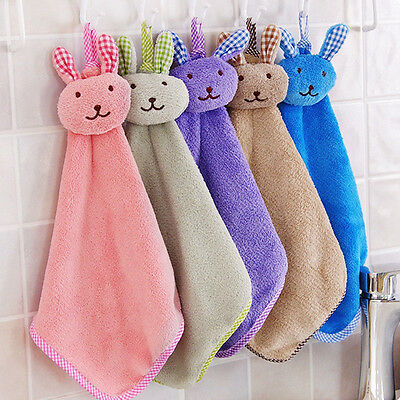 Baby Hand Towel Cartoon Rabbit Plush Kitchen Soft Hanging Bath Wipe Towel