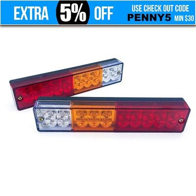 2x 20LED Square Trail Trailer Stop Light Indicator Lamp + Number Plate Light AU