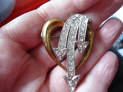 Mid Century Two Tone Paste Set Heart & Arrows Brooch (Dad's Army) Brass Ag25