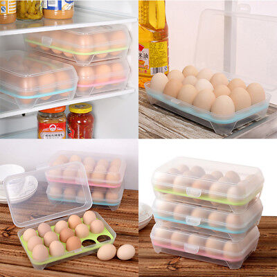 Refrigerator Egg Container Food Storage 15 Egg Airtight Camping Plastic Box Case