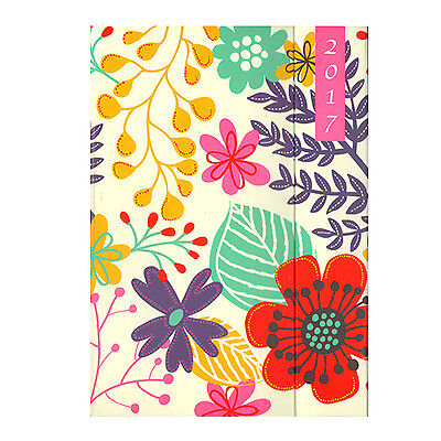A6 Cream Hardback Floral Week to View (On 2 Pages) Diary Organiser 2017 - 2092