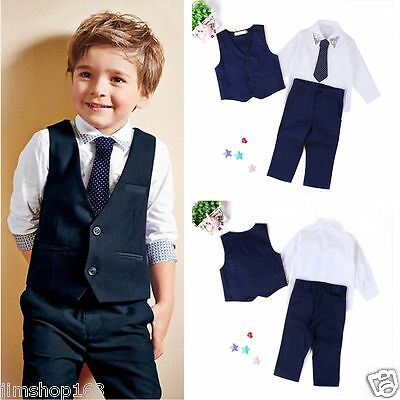 4PCS Gentleman Boys Kids Baby Waistcoat+Shirt Tops+Tie+Pants Outfits Clothes Set