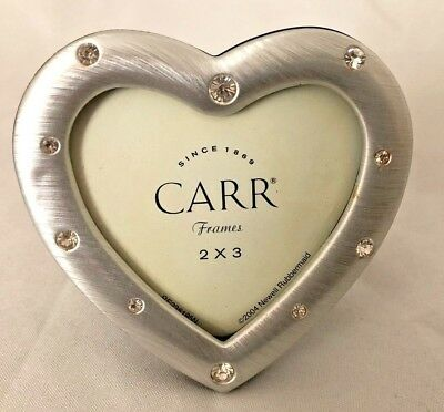 CARR SILVERTONE RHINESTONE 3 1/4 HEART Picture Frame Holds 2X3 ...