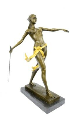 Diana the Huntress Elegant Bronze Marble Base Statue Art Deco Sculpture Figure