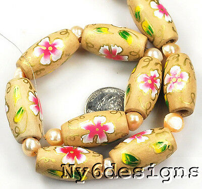 """30mm Colorfully Flower Tube Wood Beads 15"""" (WO50)b"""