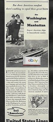 United States Lines Ss Manhattan & Ss Washington Largest American Ships 1938 Ad