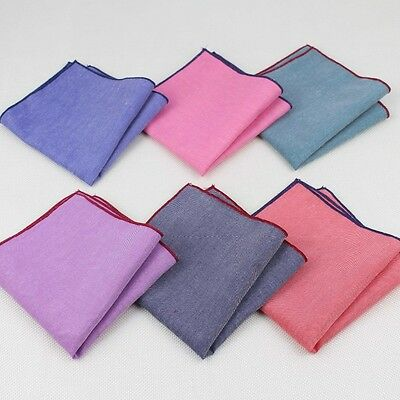 Fashion Men Solid Blend Cotton Pocket Square Hankderchief Rolled Edge Hanky