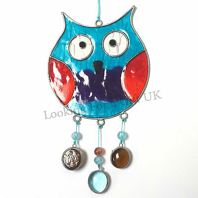 TURQUOISE OWL stained glass suncatcher sun catcher