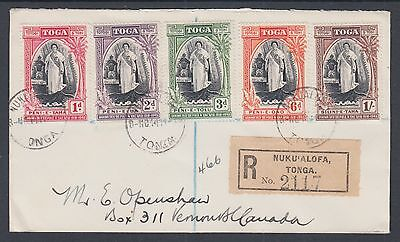 Tonga Sc 82-86 on 1944 Registered Cover to Canada