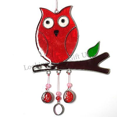 RED OWL ON BRANCH stained glass suncatcher sun catcher