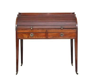 19Th Century Regency Mahogany Roll Top Writing Desk