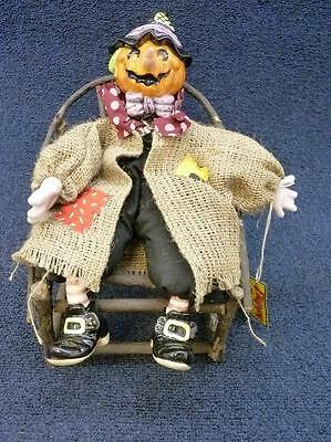 Fitz & Floyd Floppy Folks Pumpkin Patch Wooden Chair Halloween Figurine (B362)