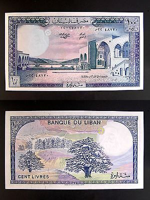 1985 Lebanon 100 Livres Banknote, P-66 c, Crisp UNC, Cedars on Mountains