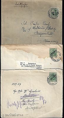 Palestine Germany 1914 Three Jerusalem Covers All Diff Franking One Is A Postal
