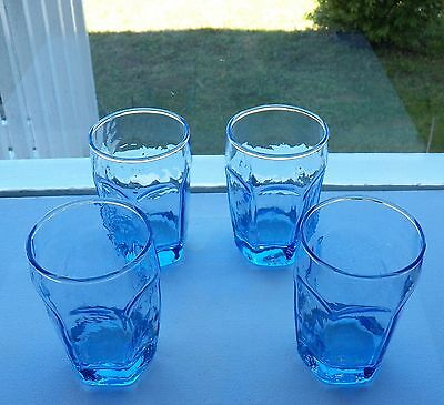 """Four Fine Blue Libbey Chivalry Pattern Juice Glasses 6 Ounce Glasses 3¾"""" High"""