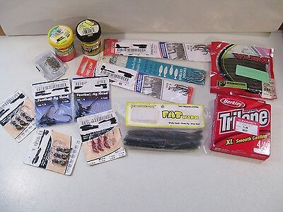 New Large Lot Of Fishing Items, Worms Hooks, Power Bait, Trilene Fishing Line