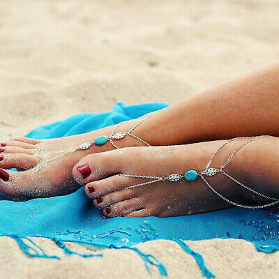 Fashion Boho Silver Turquoise Ankle Bracelet Anklet Foot Sandal Beach Jewelry