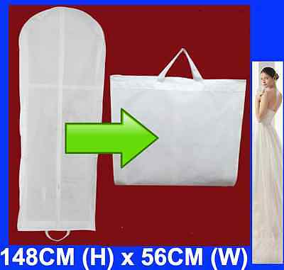 148cm x 56cm Large White Wedding Dress Bridal Gown Garment Cover Storage Bag
