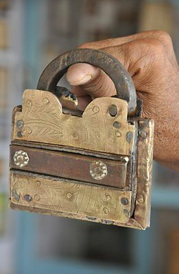 1930's Old Brass Fitted Tricky/Puzzle Solid Handcrafted Padlock , Rich Patina