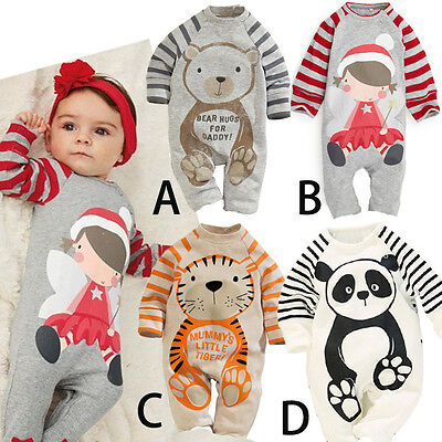 BABY Animal Xmas Baby Grow Romper Toddler Boys Girls Winter Clothes Outfit