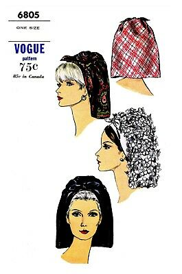 Vintage Vogue Millinery Hat Scarf Head cover Fabric sewing pattern # 6805