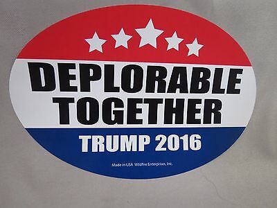 WHOLESALE LOT OF 20 DEPLORABLE TOGETHER FOR TRUMP '16 BUMPER STICKERS OVAL decal